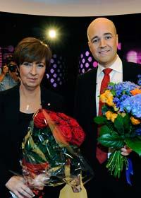 Mona Sahlin och Fredrik Reinfeldt möttes i debatt. Foto: Anders Wiklund/Scanpix