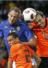 Holland utklassade Sverige i EM-kvalet. Foto: Bas Czerwinski/Scanpix