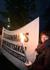 Folk i Malmö protesterade mot rasism. Foto: Drago Prulovic/Scanpix