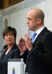 Fredrik Reinfeldt och Mona Sahlin. Foto: Leif R Jansson/Scanpix