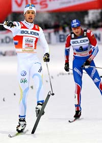 Marcus Hellner var helgens stora hjälte i skidspåret. Foto: Fredrik Sandberg/Scanpix