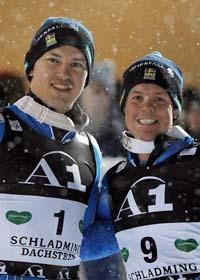 Två svenskar stod på prispallen i slalom. Foto: Alessandro Trovati/Scanpix