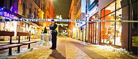 Här sprängdes en av bomberna i Stockholm i december förra året. Foto: Magnus Hjalmarsson Niedman/Scanpix
