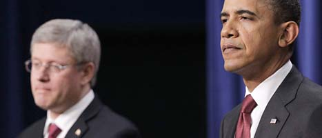 Kanadas premiärminister Stephen Harper och USAs president Barack Obama. Foto: Pablo Martinez/Scanpix