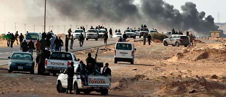 Det har varit hårda strider i Libyen mellan rebellerna och Gaddafis soldater. Foto: Kevin Frayer/Scanpix