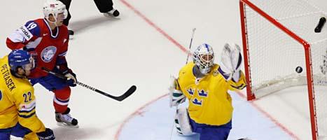 Sverige förlorade första matchen i ishockey-VM . Norge vann med 5-4. Foto. David Josek/Scanpix