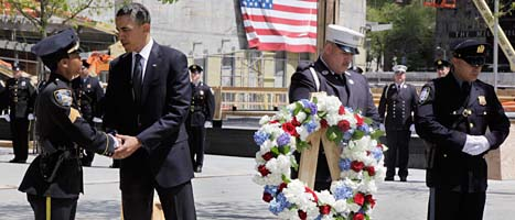 President Obama hyllade offren vid attacken mot USA 2001. Foto: Scanpix