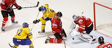 Tre Kronor förlorade matchen mot Kanada i VM. Foto: David Josek/Scanpix