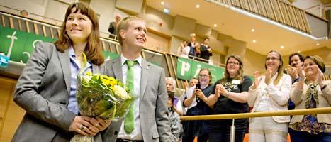 Åsa Romson och Gustav Fridolin är Miljöpartiets nya ledare. Foto: Erik Mårtensson/Scanpix