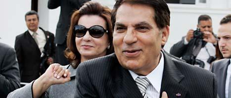 Ben Ali och hans fru leila flydde från Tunisien. Foto: Alfred de Montesquiou/Scanpix.
