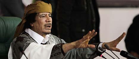 Libyens ledare Muammar Gaddafi ska gripas, säger domstolen ICC. FOTO: Ben Curtis/Scanpix