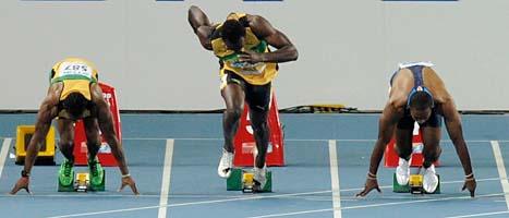 Usain Bolt tjuvstartar och missar chansen att ta ett nytt VM-guld  på 100 meter. Foto: Martin Meissner/Scanpix