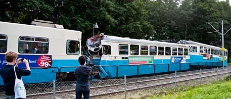 Krock mellan spårvagnar i Göteborg. Foto: Erik Abel/Scanpix