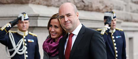 Statsminister Fredrik Reinfeldt och Filippa Reinfeldt på väg in till riksdagens högtidliga öppnande på torsdagen. Foto: Scanpix
