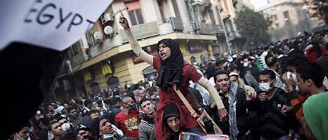 Protester på Frihetstorget i Kairo. Foto: Tara Todras-Whitehill/Scanpix