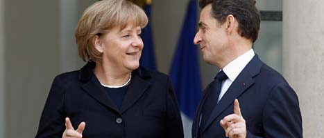 Angela Merkel och Nicolas Sarkozy. FOTO: Michel Euler/SCANPIX