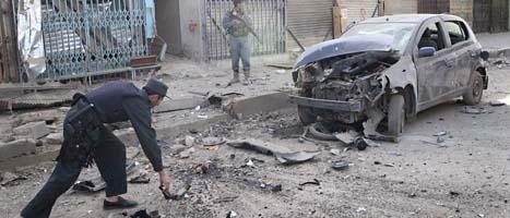 Här, i staden Kandahar, sprängdes en av bomberna i Afghanistan. FOTO: Allauddin Khan/SCANPIX