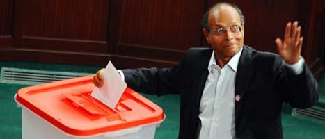 Moncef Marzouki ska leda Tunisien tills nästa val. FOTO: Hassene Dridi/SCANPIX