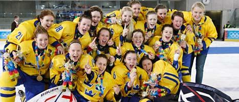 Sveriges tjejlag vann OS-guld. Foto: Christian Forcher/Scanpix