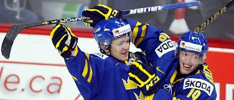 Sveriges juniorlag är klart för semifinal i ishockey-VM. Foto: Johan Nilsson/Scanpix