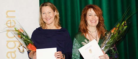 Skådespelaren Cecilia Nilsson och regissören Lisa Ohlin kan vinna guldbaggar för sina arbeten i filmen Simon och ekarna. FOTO: Henrik Montgomery/SCANPIX