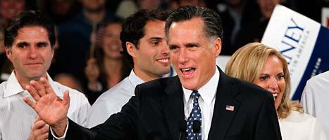 Mitt Romney vann prov-valet i New Hampshire i USA. Foto: Elise Amendola/Scanpix