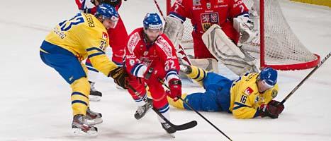 Sverige gjorde en bra match men förlorade ändå mot tjeckerna. FOTO: Fredrik Sandberg/SCANPIX