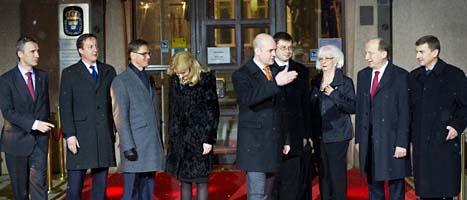Reinfeldt träffade ledarna från flera andra länder i Stockholm. FOTO: Fredrik Sandberg/SCANPIX