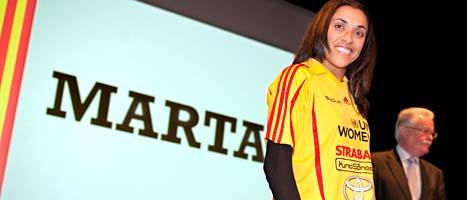 Marta da Silva är världens bästa fotbollsspelare. Nu återvänder hon till Sverige och damallsvenskan. Foto: Lars Pehrson/Scanpix