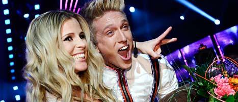 Lisa Miskovsky och Danny Saucedo gick vidare till final i Melodifestivalen. Foto: Scanpix.