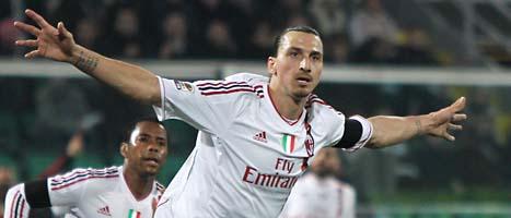 Zlatan gjorde tre mål på 14 minuter. Foto: Antonio Callani/Scanpix