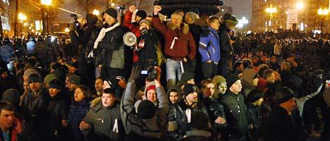 Det blev protester mot Vladimir Putins valseger. Foto: Alexander Zemilianichenko/Scanpix.