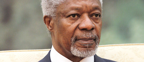 Kofi Annan försöker skapa fred i Syrien. Foto: Lintao Zhang/Scanpix