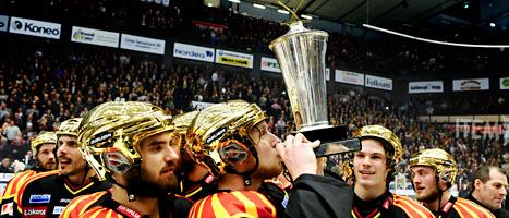 Brynäs spelare firar ännu ett SM-guld i ishockey. Foto: Pontus Lundahl/Scanpix