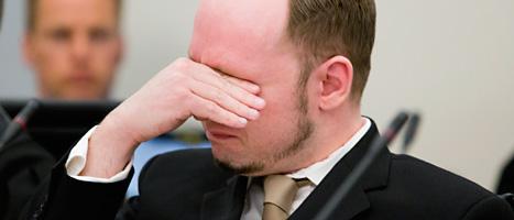 Anders Behring Brevik i domstolen. Foto: Heiko Junge/Scanpix
