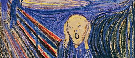 Edward Munchs tavla Skriet blev väldigt dyr. Det du ser på bilden är bara en del av målningen. Foto: Sothebys/Scanpix
