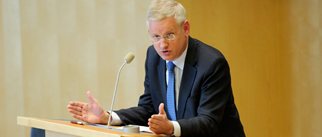 Carl Bildt sade till Etiopiens premiärminister att han vill att journalisterna släpps fria så snart som möjligt. FOTO: Henrik Montgomery/SCANPIX