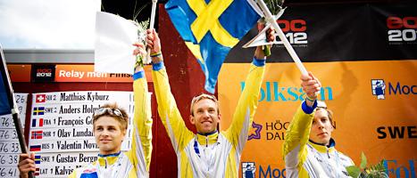 Sveriges killar tog silver i stafetten i EM. Foto: Jens Lestrade/Scanpix