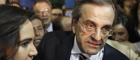 Antonis Samaras leder partiet Ny demokrati som fick flest röster i valet  i Grekland. Foto: Kostas Tsironis/Scanpix.