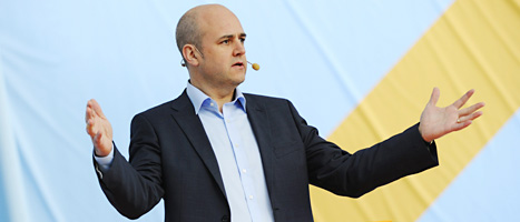 Fredrik Reinfeldt talade om arbete och arbetslöshet. Foto: Henrik Montgomery/Scanpix