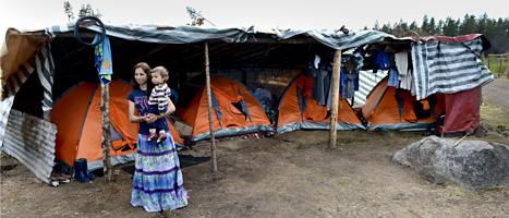 En av de bulgariska bärplockarna med sin son vid ett tältläger. FOTO: Pontus Lundahl/SCANPIX