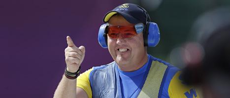 Skytten Håkan Dahlby tog Sveriges andra medalj i OS. Foto: Rebecca Blackwell/Scanpix