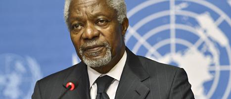 Kofi Annan ger upp försöken att få fred i Syrien. Foto: Martial Trezzini/Scanpix