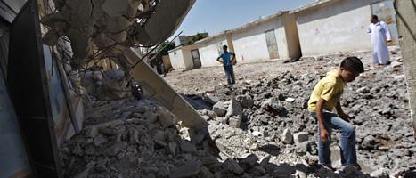 En skola i staden Aleppo har blivit förstörd av en granat. Foto: Khail Hamra/Scanpix