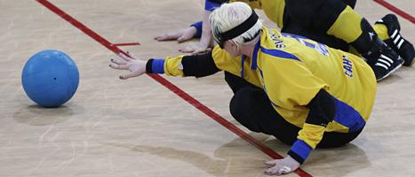 Sveriges damer förlorade i goalboll.Foto Lefteris Pitarakis/Scanpix