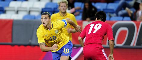 Zlatan spelade bara halva matchen mot Kina. Foto: Björn Lindgren/Scanpix