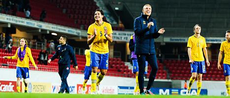 Sveriges spelare jublar efter segern över Ukraina i Kalmar. Foto: Patric Söderström/Scanpix