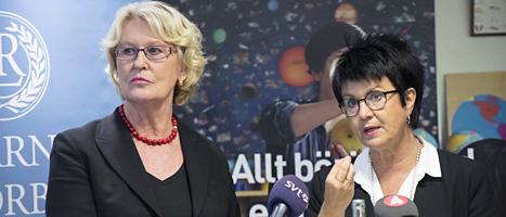 Metta Fjelkner och Eva Lis Siren är ledare för de två lärarfacken. Foto: Bertil Enevåg/Scanpix.