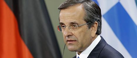 Greklands ledare Samaras har inte lyckats spara som EU vill. Foto: Scanpix.