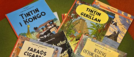 Flera bibliotek plockar bort böcker om Tintin från hyllorna. Foto: Scanpix